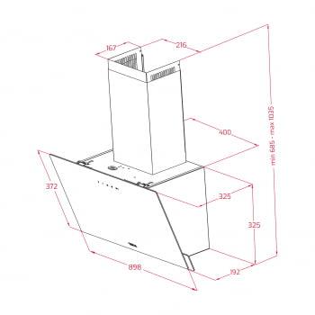 Campana decorativa vertical Teka DVN 97050 TTC BK  Negra   90cm   Gama Easy   485 m³/h   Clase A - 2