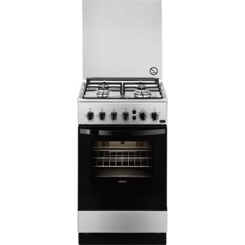 Cocina a Gas zanussi ZCG212G1XA Inox de 86 x 50 cm con 4 quemadores gas butano y Horno de gas con Grill