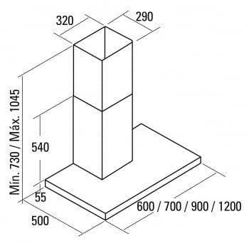 CATA SYGMA 700 CAMPANA INOX 70CM 850M3/H A - 2
