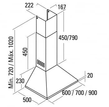 CATA BETA 700 CAMPANA INOX 70CM 850M3/H A - 2