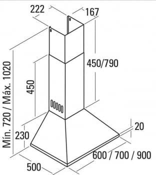 CATA BETA 600 CAMPANA INOX 60CM 780M3/H A - 2