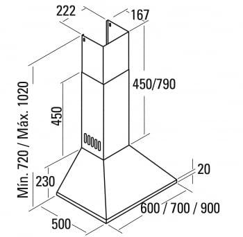 CATA OMEGA 900 CAMPANA INOX 90CM 645M3/H - 2