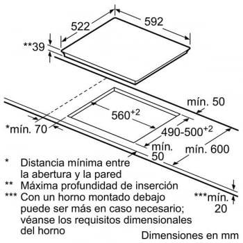 Placa Vitrocerámica Bosch PKM631B17E de 60cm con 3 Zonas de Cocción de Max 24cm | TouchSelect | Serie 4 - 5