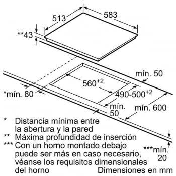 Placa Vitrocerámica Bosch PKF645B17E de 60 cm con 4 Zonas de cocción | TouchSelect | Serie 4 - 5