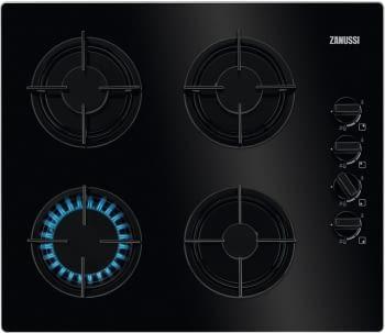 Placa de Gas Zanussi ZGO62414BA Negra de 60 cm con 4 quemadores (1 Wok) Termopar Parrilas de hierro fundido