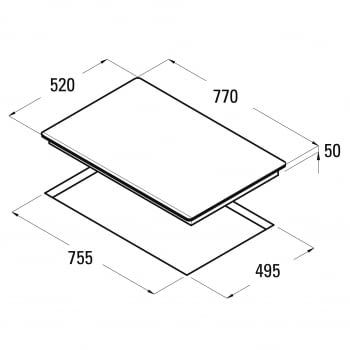 Placa de Inducción Cata GIGA 750 BK | 77 cm | 6 Zonas - Max. 40cm | Función Booster - 2
