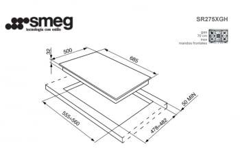 SMEG SR275XGH PLACA GAS SELECCION 70CM 5 FUEGOS INOX - 2