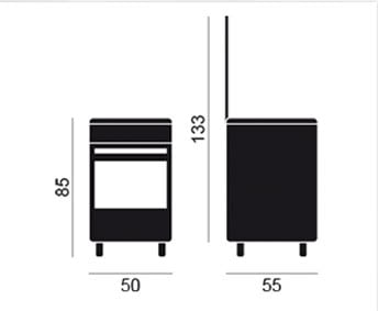 VITROKITCHEN CB55BB-VS COCINA GAS BUTANO BLANCA 50X55CM 4 FUEGOS - 2