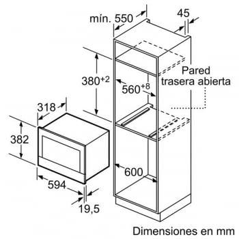 BOSCH BER634GS1 MICROONDAS CRISTAL NEGRO INOX GRILL AP. DERECHA 21L promocionado - 5