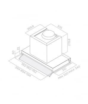 ELICA BOX IN PLUS IXGL/A/120 CAMPANA ENCASTRE INOX CRISTAL BLANCO 120CM 647M3/H - 3