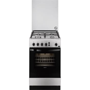 Cocina a Gas Zanussi ZCG510G1XA Inox de 86 x 50 cm con 4 quemadores gas butano y Horno de gas con Grill