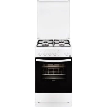 Cocina a Gas Zanussi ZCG510G1WA Blanca de 86 x 50 cm con 4 quemadores gas butano y Horno de gas con Grill