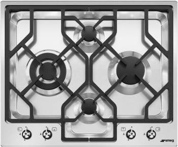 Placa Gas SMEG PGF64-4 60cm 4 Fuegos Semifilo Inox | Envío Gratis