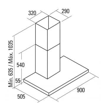 CATA LEGEND CAMPANA INOX CRISTAL NEGRO 90CM 820M3/H A+ - 3