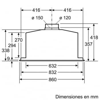 Módulo de integracón Bosch DHL885C Inoxidable de 86 cm a 730 m³/h | Clase C | Serie 6 - 6