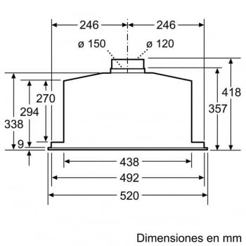 Módulo de integracón Bosch DHL585B Inoxidable de 52 cm a 650 m³/h | Clase C | Serie 6 - 8