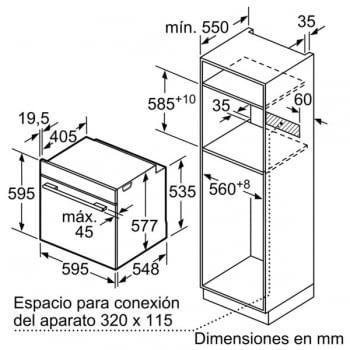 Horno con vapor Bosch HSG636BS1 | INOX Cristal Negro | Vapor Multifunción | Abatible | Clase A+ - 7