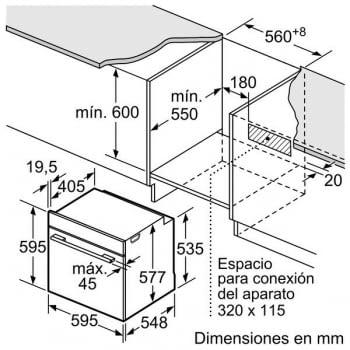 Horno con vapor Bosch HSG636BS1 | INOX Cristal Negro | Vapor Multifunción | Abatible | Clase A+ - 8