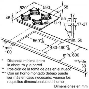 Balay 3ETG464MB Placa Gas Cristal Negro 60cm 4 Fuegos - 2