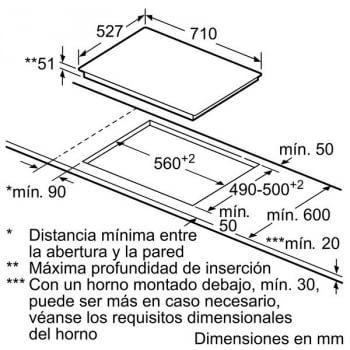 Placa de Inducción Bosch PID775DC1E | 70cm con encastre 60cm | 3 Zonas  -  Max.32 cm | Fácil Control y Regulación - 4
