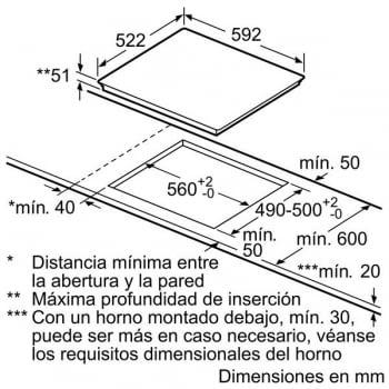 Placa de Inducción Bosch PID631BB1E   60 cm   3 Zonas - Max. 32 cm   Función Sprint   TouchSelect   Serie 4 - 6