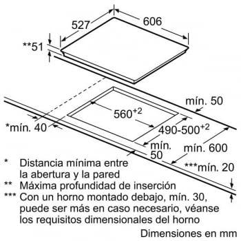 Placa de Inducción Bosch PIJ675FC1E de 60 cm con 3 Zonas con función Sprint   PerfectFry   DirectSelect   Serie 6   Stock - 5