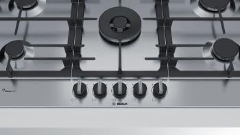 Placa de Gas Natural Bosch PCR9A5B90 Inoxidable de 90 cm con 4 Quemadores de Gas FlameSelect a 9 niveles + 1 Quemador Wok   Serie 6 - 2