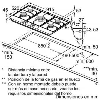 Placa de Gas Natural Bosch PCR9A5B90 Inoxidable de 90 cm con 4 Quemadores de Gas FlameSelect a 9 niveles + 1 Quemador Wok   Serie 6 - 3