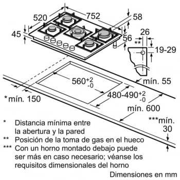 Placa de Gas Bosch PPQ7A6B90 con Gas Natural de 75 cm con 5 Quemadores FlameSelect 9 niveles | Serie 8 - 6