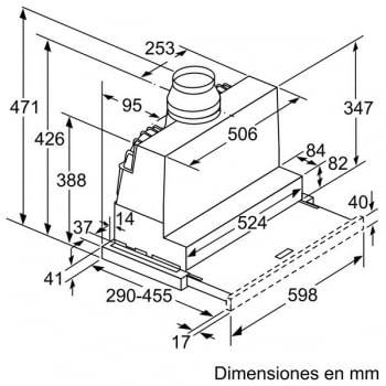 Campana Telescópica Bosch DFS067A50 Plateada de 60 cm a 739 m³/h | Motor EcoSilence Clase B | Serie 4 - 5