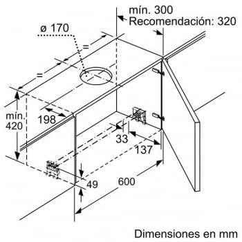 Campana Telescópica Bosch DFS067A50 Plateada de 60 cm a 739 m³/h | Motor EcoSilence Clase B | Serie 4 - 6