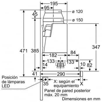 Campana Telescópica Bosch DFS067A50 Plateada de 60 cm a 739 m³/h | Motor EcoSilence Clase B | Serie 4 - 10