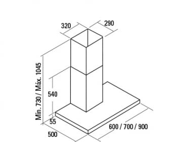 CATA S PLUS 900 X CAMPANA INOX 90CM 645M3/H - 2