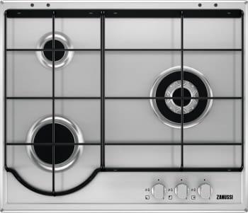 Placa de Gas Zanussi ZGG65334XA Inox de 60 cm con 3 Quemadores (1 Wok) Termopar Parrillas esmaltadas