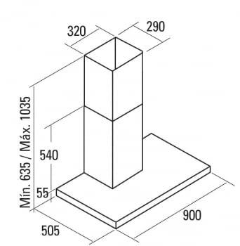 CATA LEGEND X 700 CAMPANA INOX 70CM 820M3/H - 2