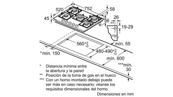 Placa de Gas Balay 3ETG676HB Cristal Negro | 75cm | 4 Fuegos y 1 Wok de doble llama | Gas Stop | Autoencendido integrado - 4