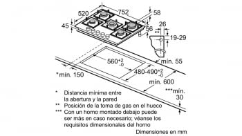 Balay 3ETG676HB Placa Gas Cristal Negro 5 Fuegos 75cm Wok - 5