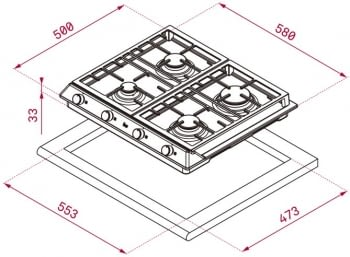 TEKA EX 60.1 4G AI AL DR CI BUT (E1) PLACA GAS 4 FUEGOS INOX | STOCK - 2
