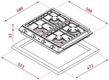 TEKA EX 60.1 4G AI AL DR CI NAT (E1) PLACA GAS 4 FUEGOS INOX / STOCK - 2