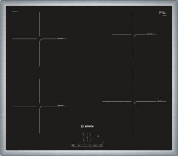 Inducción Bosch PUE645BB1E Encimera de 60cm con 4 Zonas y Marco de Acero Inoxidable | Zona Máxima 21cm