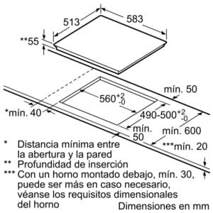 Inducción Bosch PUE645BB1E Encimera de 60cm con 4 Zonas y Marco de Acero Inoxidable | Zona Máxima 21cm - 4