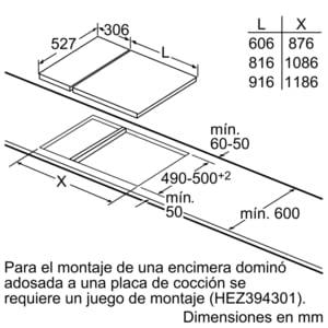 Placa Dominó Bosch PKF375FP1E Vitrocerámica de 30 cm con 2 Zonas de cocción | DirectSelect | Serie 6 - 6