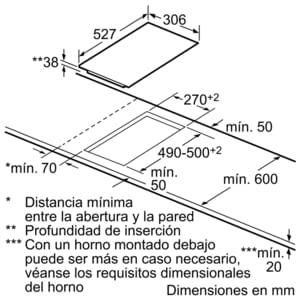 Placa Dominó Bosch PKF375FP1E Vitrocerámica de 30 cm con 2 Zonas de cocción | DirectSelect | Serie 6 - 8