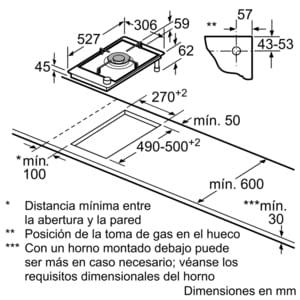 Placa Dominó Bosch PRA3A6D70 de Gas Natural, de 30 cm con 1 Quemador Wok FlameSelect 9 niveles de potencia | Serie 8 - 6