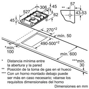 Placa de Gas Bosch PRB3A6D70 | 30 cm | Wok | Modular | Gas Natural | 2 Quemadores | FlameSelect | 9 niveles de potencia | Serie 8 - 6