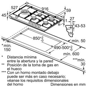 Placa de Gas Bosch PRS9A6D70 con Gas Natural de 90 cm con 5 Quemadores FlameSelect 9 niveles | Serie 8 - 7