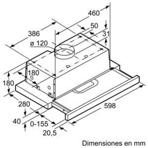 Campana Telescópica Bosch DFT63AC50 Plateada de 60 cm a 368 m³/h   Clase D   Serie 4   Stock - 6