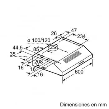 Campana Convencional Bosch DUL63CC55 Inoxidable de 60 cm a 350 m³/h | Clase D | Serie 4 - 6