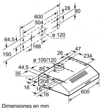 Campana Convencional Bosch DUL63CC55 Inoxidable de 60 cm a 350 m³/h | Clase D | Serie 4 - 7