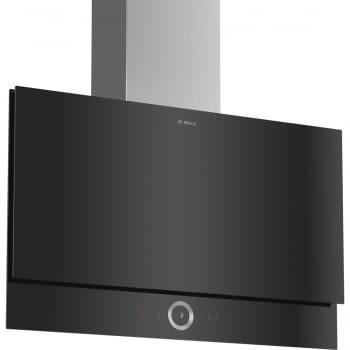 Campana decorativa de pared Bosch DWF97RV60 Cristal Negro de 90 cm a 717 m³/h | Motor EcoSilence Clase B | Serie 8